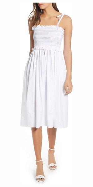 ENGLISH FACTORY smocked dress in white
