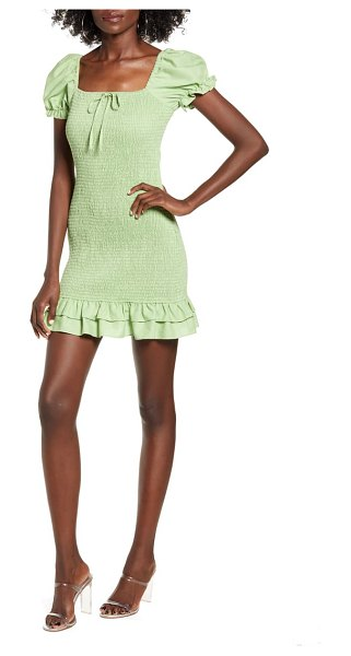 ENGLISH FACTORY smocked minidress in green