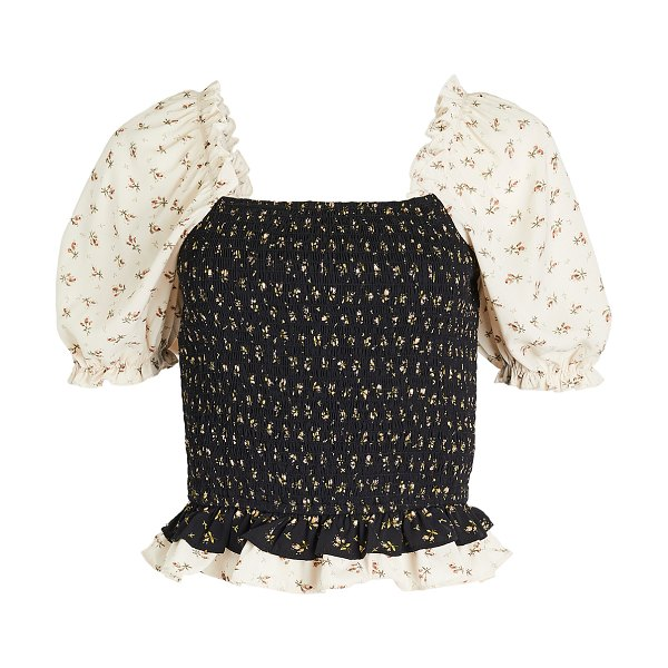 ENGLISH FACTORY smocked puff sleeve top in multi
