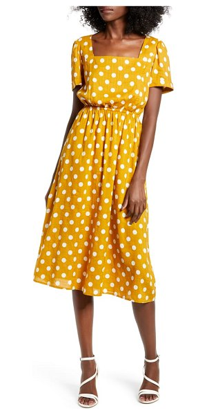 ENGLISH FACTORY square neck midi dress in yellow