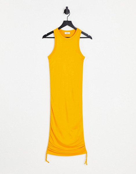 Envii stevia ruched side midi jersey dress in yellow-green in green