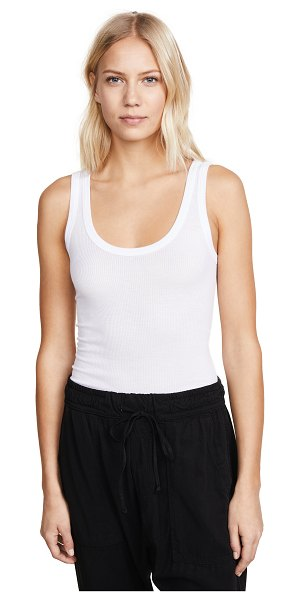Enza Costa bold ribbed tank in white