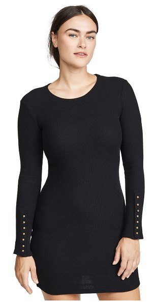 Enza Costa button cuff mini dress in black