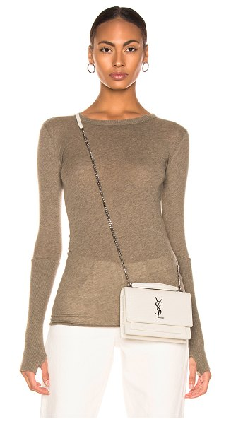 Enza Costa Cashmere Cuffed Crew in green - 85% cotton 15% cashmere.  Made in USA.  Hand wash. ...