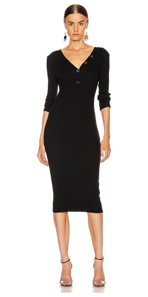 Enza Costa cashmere poorboy rib long sleeve henley midi dress in black