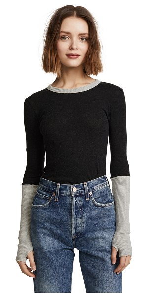 Enza Costa cuffed crew neck top in charcoal/lt heather grey