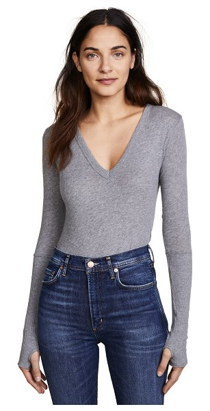 Enza Costa cuffed v neck top in smoke