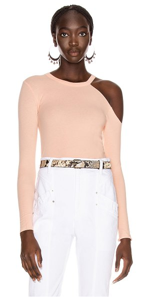 Enza Costa for fwrd exposed shoulder top in peach cream