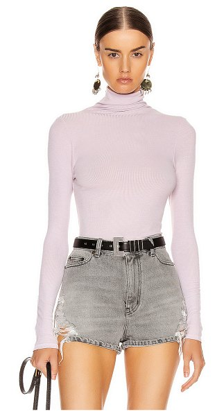 Enza Costa rib long sleeve turtleneck bodysuit in pink crystals