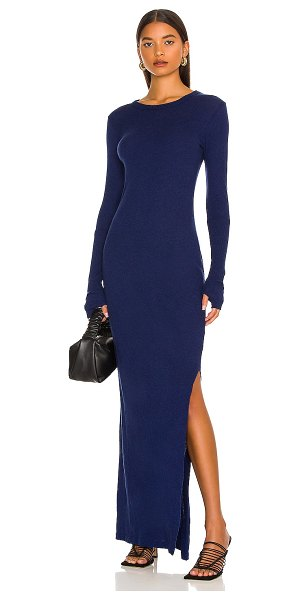 Enza Costa slit long sleeve crew maxi dress in french navy