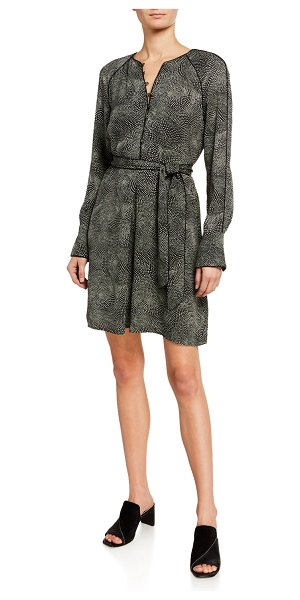 Equipment Abelina Long-Sleeve Belted Dress in tru blk sndshl