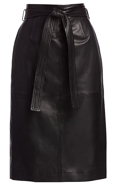 Equipment alouette leather pencil skirt in true black