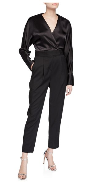 Equipment Carlens Long-Sleeve Satin-Bodice Wool Jumpsuit in true black