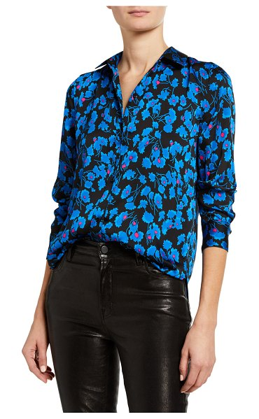 Equipment Leema Floral Print Button-Down Blouse in sarling blu mt