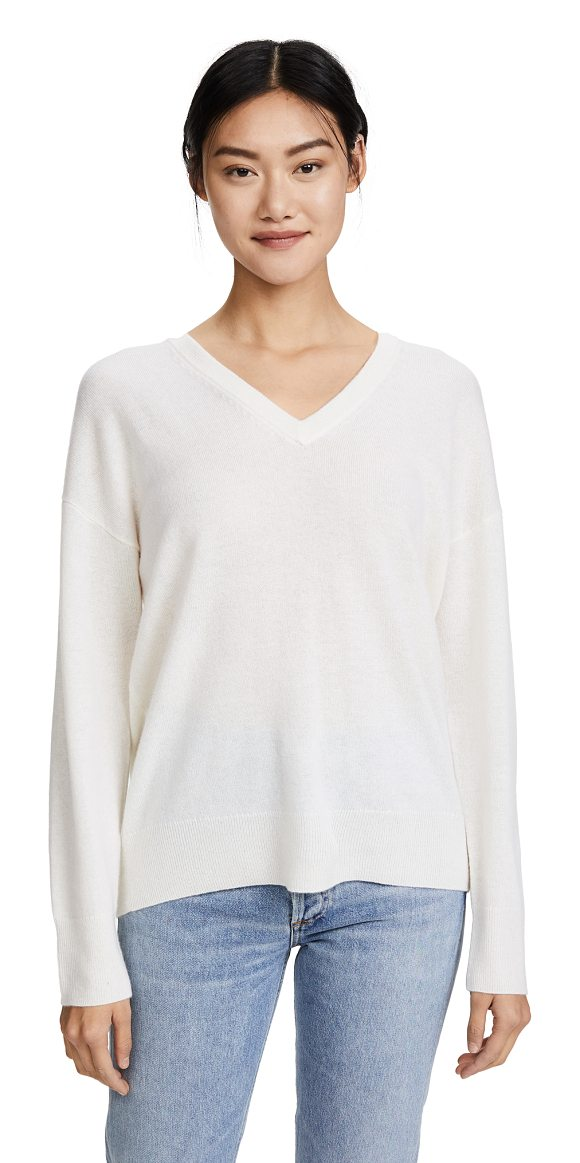 Equipment lucinda v neck sweater in ivory - This slouchy Equipment sweater is composed of soft,...