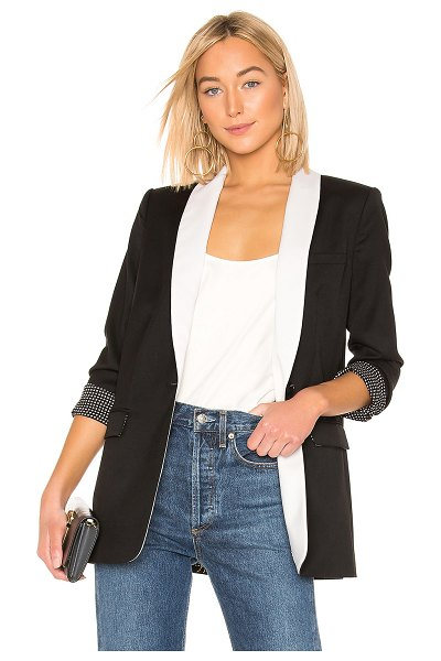 Equipment Quincy Blazer in black - Poly blend. Dry clean only. Contrast lapels. Single...