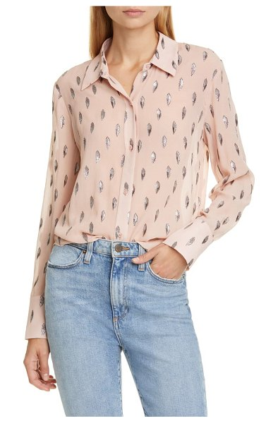 Equipment sedienne metallic leaves silk blend blouse in misty rose