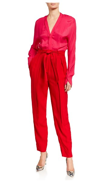 Equipment Zephrina Two-Tone Long-Sleeve Jumpsuit in imp lil ht red