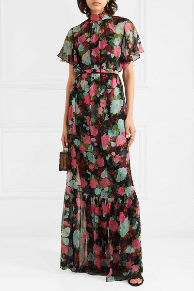 Erdem ciella tiered floral-print silk-chiffon gown in black