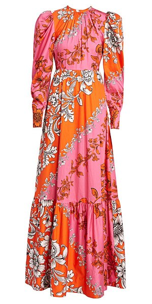 Erdem claudina puff sleeve gown in orange pink