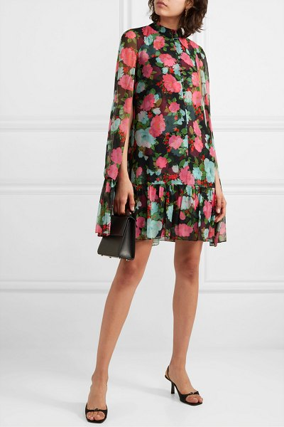 Erdem constantine cape-effect tiered floral-print silk-chiffon mini dress in black