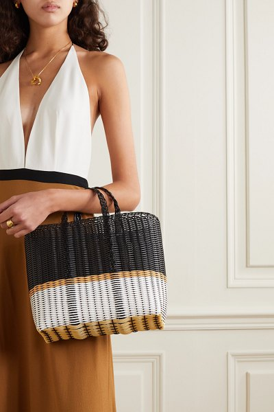 ERES palorosa small striped woven tote in black