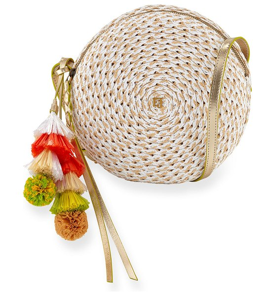 "Eric Javits Bali Squishee Crossbody Bag with Tassels in white pattern - Eric Javits ""Bali"" crossbody bag in signature Squishee..."