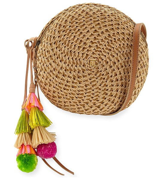 Eric Javits Bali Squishee Crossbody Bag with Tassels in neutral pattern