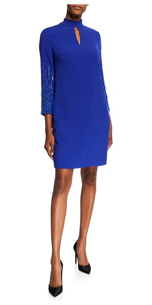 Escada Duavah Beaded Shift Dress in cobalt