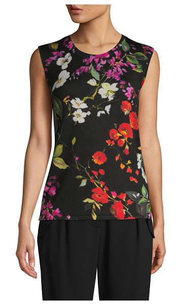 Escada Floral Sleeveless Wool Top in floral fantasy