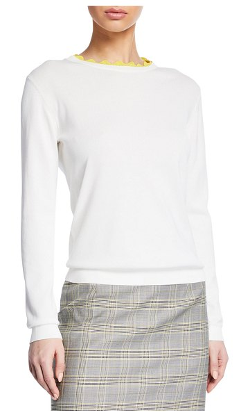 Escada Long-Sleeve Scalloped Pullover Sweater in white