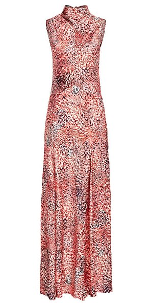 Escada printed sleeveless highneck maxi dress in pink multi