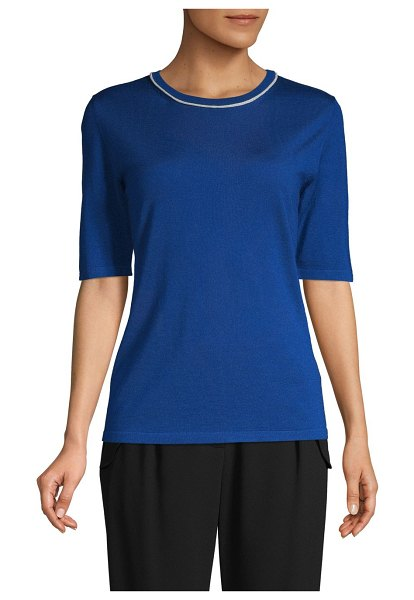 Escada Ribbed Wool Sweater in open blue