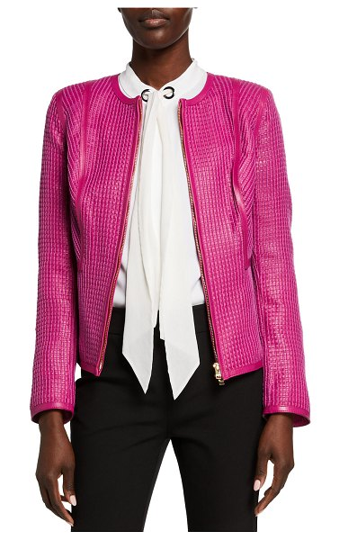 Escada Sari Check Woven Leather Zip-Front Jacket in pink