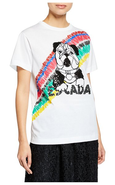 Escada Sport Short-Sleeve Sequin Bulldog Top in white pattern - Escada Sport sweatshirt in striped cotton knit with...