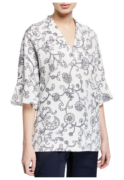Escada V Neck Floral Lace Print Tunic in white pattern