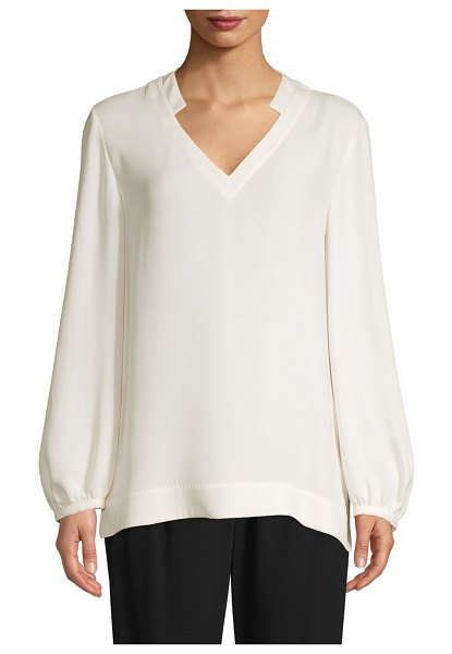 Escada V-Neck Long-Sleeve Silk Top in natural