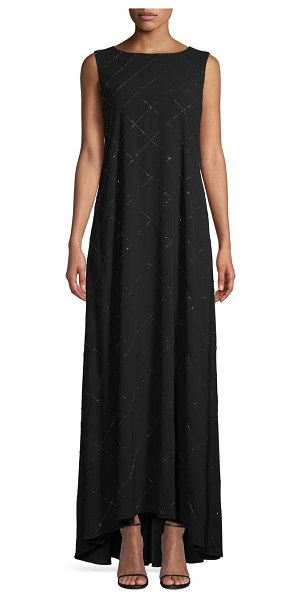 Escada Windowpane High-Low Maxi Dress in black