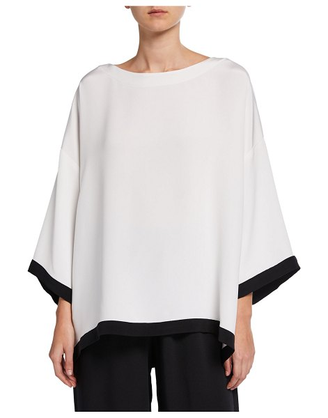 eskandar 3/4-Sleeve Contrast-Tipped Boat-Neck Tunic in white/black