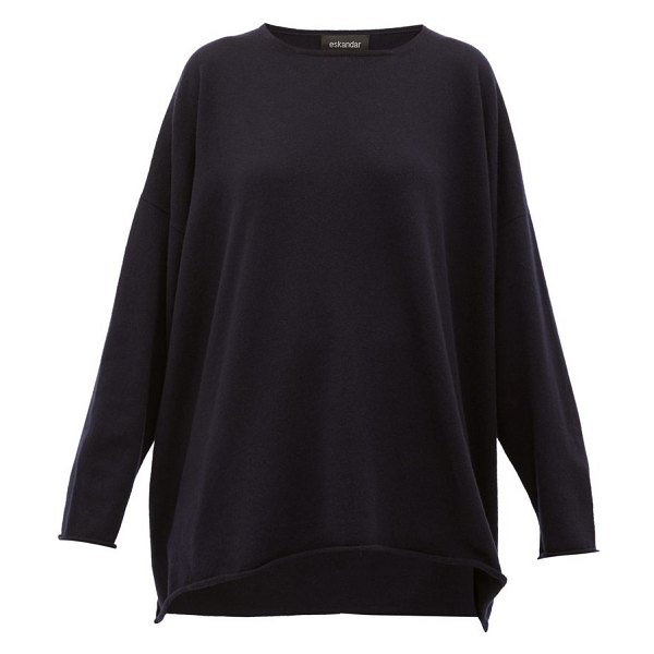 eskandar boat-neck cashmere sweater in navy