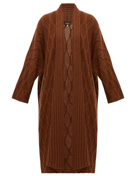 eskandar cabled waterfall-lapel cashmere cardigan in brown