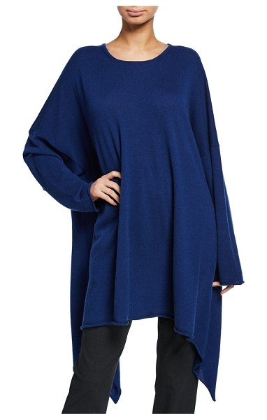 eskandar Cascading Side Bateau-Neck Shirt in dark blue