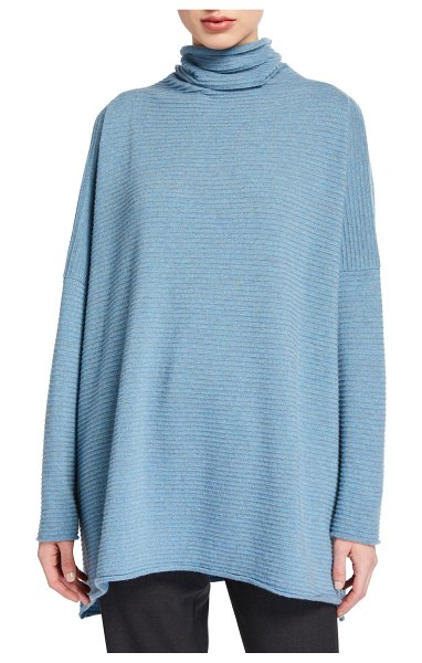 eskandar Cashmere Funnel Neck Sweater in blue