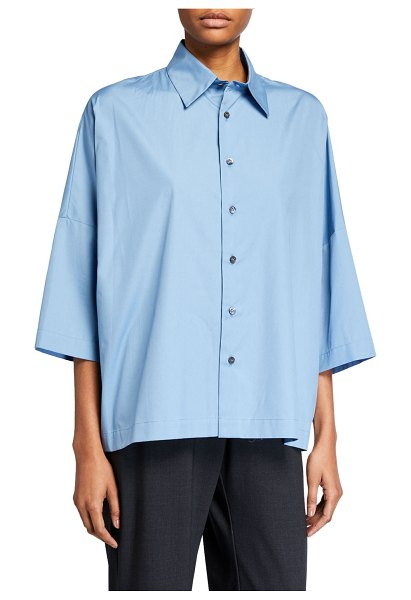 eskandar Cotton Sloped-Shoulder Shirt in blue