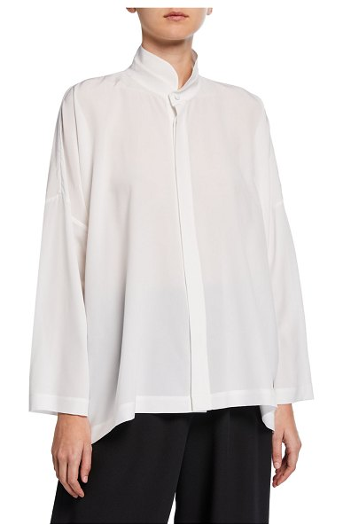 eskandar Double-Stand Collar Oversized Tunic in white