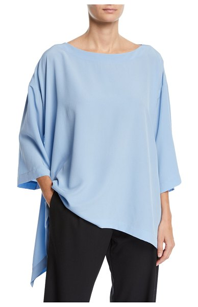 eskandar Lightweight Crepe Cascading-Side Tunic in blue