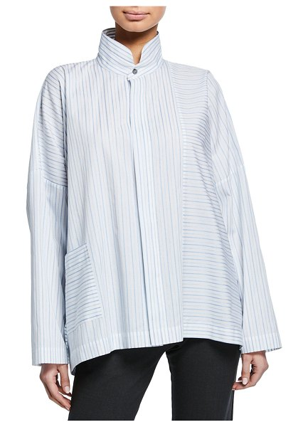 eskandar Long-Back Stand-Collar Paneled Shirt in light blue