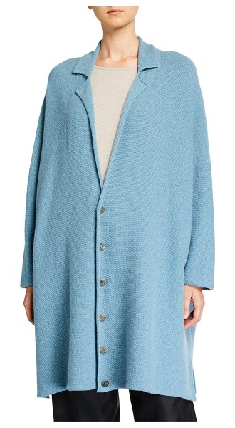 eskandar Long Wide-Knitted Blazer Cardigan in blue