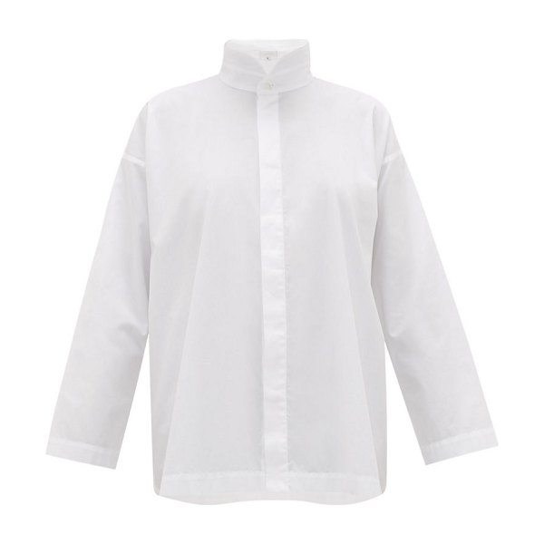 eskandar oversized a line cotton poplin shirt in white