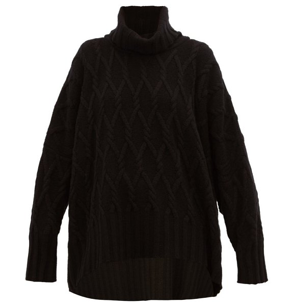 eskandar roll-neck cable-knit cashmere sweater in black